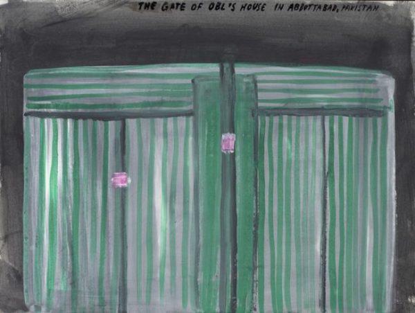 the gate of OBL's house_gouache op papier_22x30cm